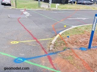 Underground utilities marked on the ground by GeoModel, Inc.