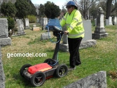 GeoModel uses the plastic GPR cart for locating unmarked graves and lost graves for cemetery surveys