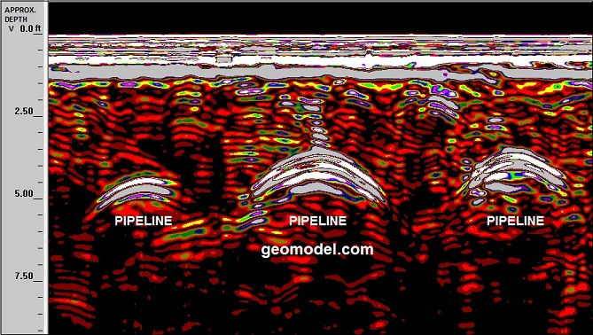 GeoModel, Inc. located 3 buried pipelines using ground penetrating radar